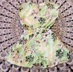 Zara Mint Green Pin Up Floral Button Detail Dress